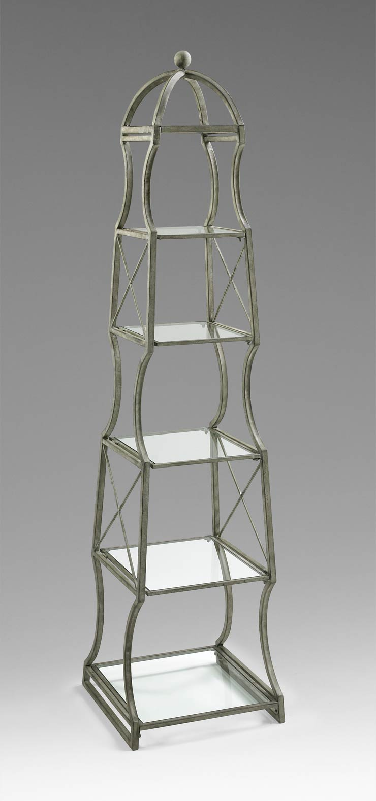 chester iron and glass etagere shelf by cyan design. Black Bedroom Furniture Sets. Home Design Ideas