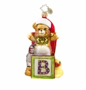 Christopher Radko Beary Excited Teddy Bear with B Ornament