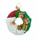 Christopher Radko Crescent Christmas Presents Little Gem Santa Claus Wreath Ornament