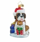 Christopher Radko Gentle Giant Saint Bernard Dog in Santa Hat Ornament