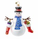 Christopher Radko Hold on to Your Socks! Frosty Snowman Ornament
