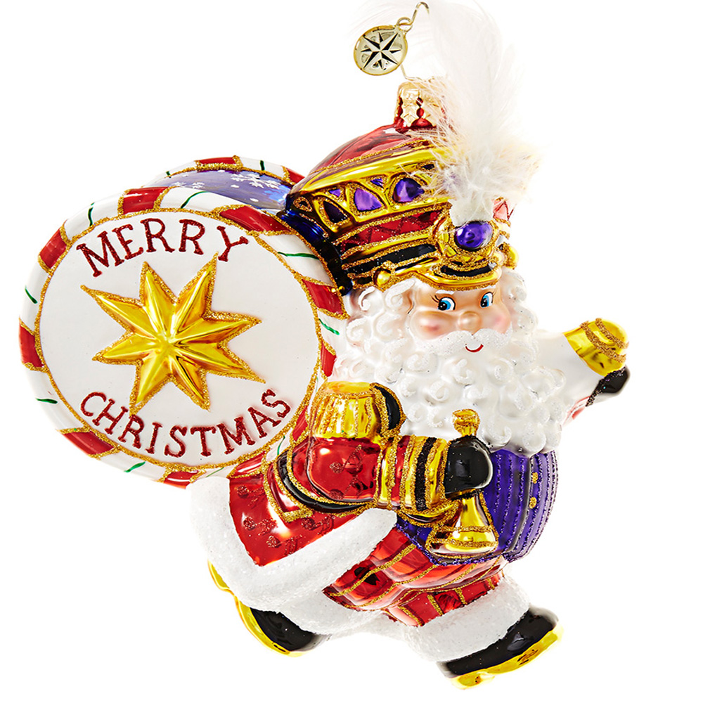 christopher radko holiday marcher santa claus with drum in band ornament