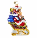 Christopher Radko Off To the Lodge! Sledding Moose Ornament