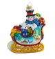 Christopher Radko Snowy Gift Sleigh Ride Snowman Ornament