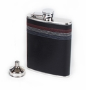 Concord 6 oz Decorative Stitched Black Leather Whiskey Flask