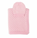 Darzzi Baby Pink Natural Snuggle Baby Blanket & Beanie Set