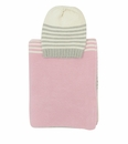 Darzzi Light Pink Grey Combo Sia Baby Blanket & Beanie Set