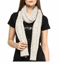 Darzzi Stone Natural Marled Braid Cable Scarf