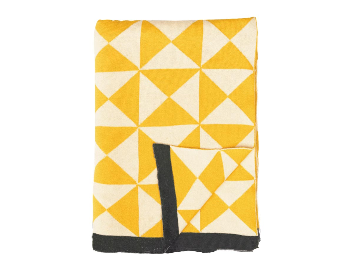 Darzzi Yellow Natural Grey Border Wind Farm Throw Blanket