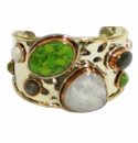 David Jeffery Cuff - Green Turquoise/Rainbow Quartz
