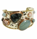 David Jeffery Cuff - Rose Quartz/Green Onyx