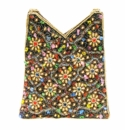David Jeffery Handbag - Multi W/Beaded Handle