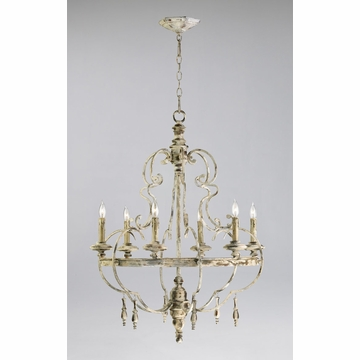 Davinci 6 Light White Iron Chandelier by Cyan Design