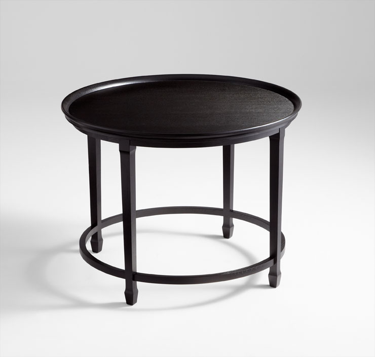 Black Foyer Table : Designer round black foyer table by cyan design