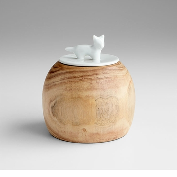 Designer Wood Cat Container by Cyan Design