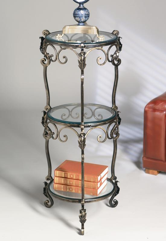 3 Tier Bronze Iron Acanthus Leaf Table With Beveled Glass