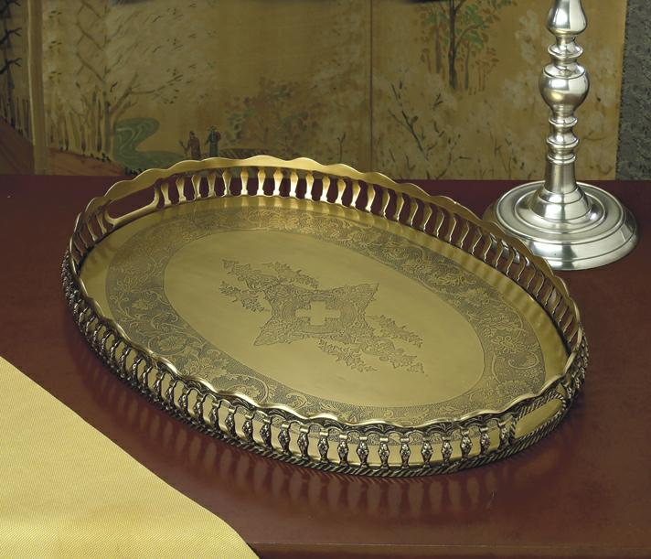 Antique brass oval gallery tray home decor for Brass home decor
