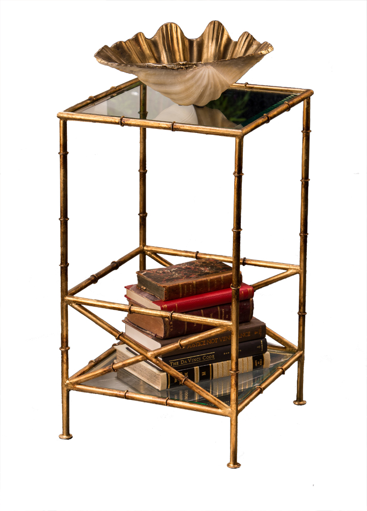 Antique gold bamboo 2 tier table home decor for Antiques decoration