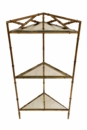 Dessau Home Antique Gold Bamboo Triangle Three Tier Corner Accent Table