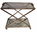 "Dessau Home Antique Silver ""X"" Frame Beveled Cart"