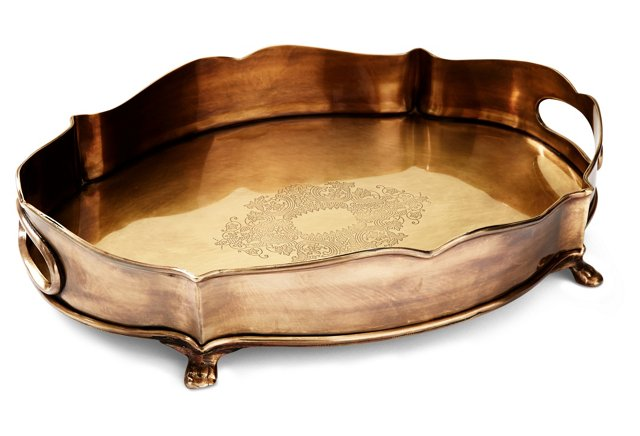 dessau home antiqued brass chippendale gallery tray