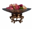 Dessau Home Antiqued Brass Stand With Crystal Bowl