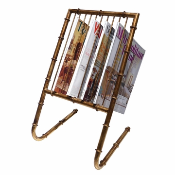 Dessau Home Antiqued Gold Bamboo 10 Magazine Rack