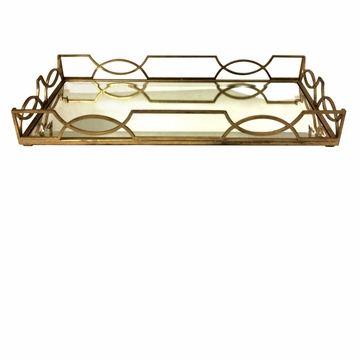 Dessau Home Antiqued Gold Quatrefoil Tray