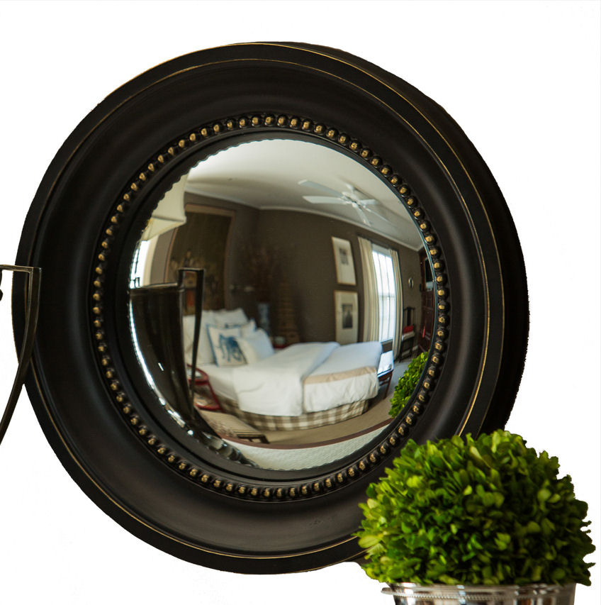 Black and gold colonial convex mirror home decor for Convex mirror for home