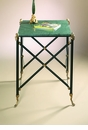 Dessau Home Black and Brass End Table with Green Marble Top