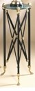 Dessau Home Black and Brass Plant Stand with Green Marble Top