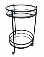 Dessau Home Black & Gold Round Bamboo Beverage Cart