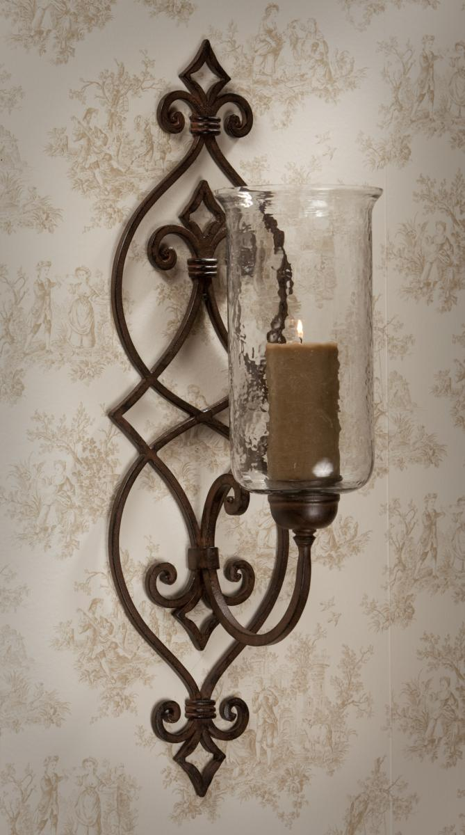 Metal Scroll Wall Sconces : Bronze Iron Scroll Sconce with Hammered Globe Home Decor