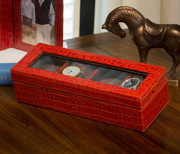 Burnt Orange Watch Box Holds Four Home Decor