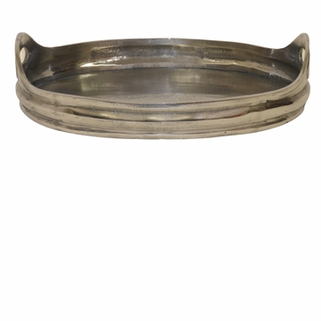 Dessau Home Cast Aluminum Oval Tray With Handle