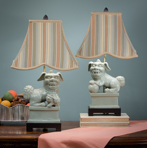 celadon foo dog lamps with striped shade home decor