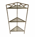 Dessau Home Champagne Silver Bamboo Triangle 3 Tier Table