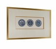 Dessau Home Framed Set Of 3 Blue & White Plates