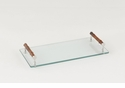 Dessau Home Glass & Bamboo Rectangular Tray