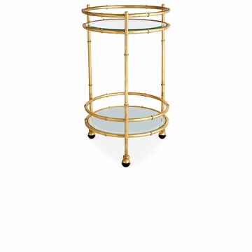 Dessau Home Gold Bamboo Round Bar Cart