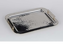 Dessau Home Nickel & Gold Bead Rectangular Handles Tray