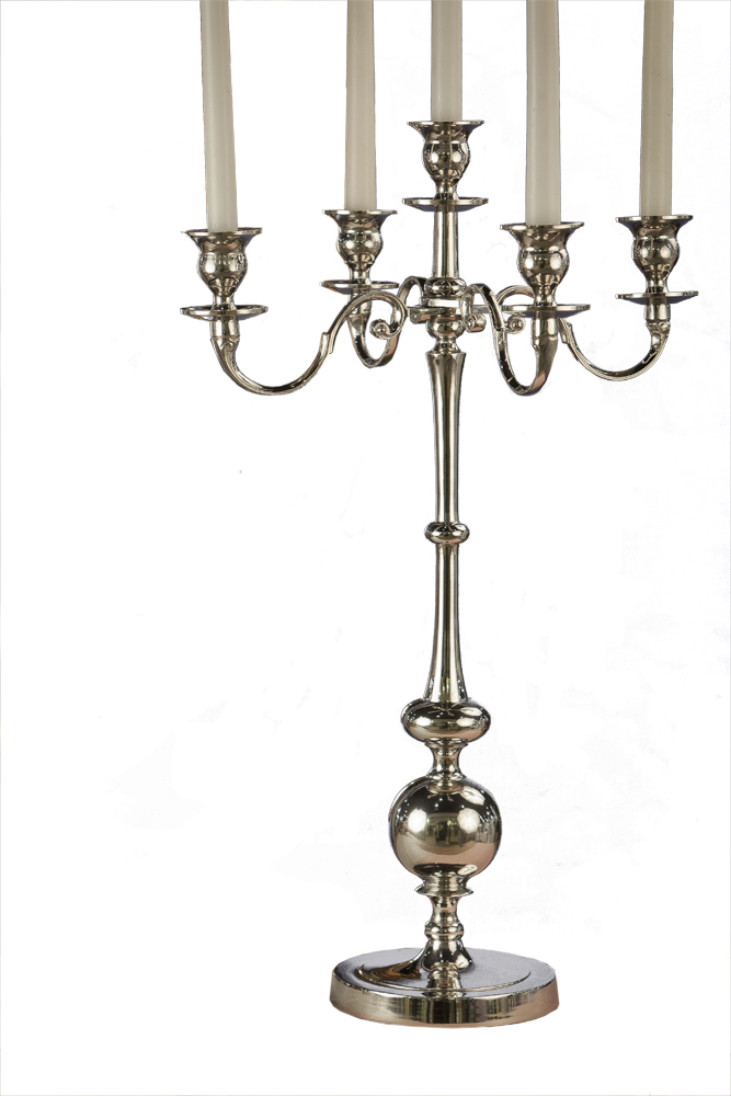 Nickel 5 light candle stand home decor Home decor candlesticks