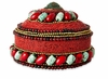 Dessau Home Red & Turquoise Round Beaded Box