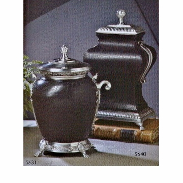 Dessau Home Round Black Leather Urn