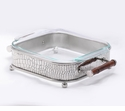 Dessau Home Square Nickel Crocodile & Bamboo Server