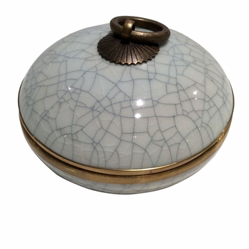 Dessau Home White Crackle Convex Box