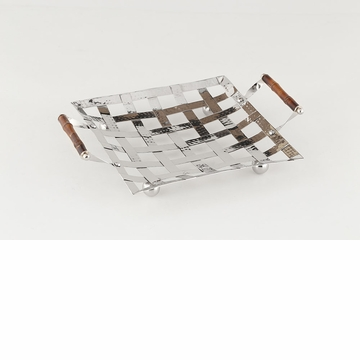 Dessau Home Woven Steel Square Tray With Bamboo