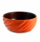 Enrico Mango Wood Tangerine Orange Spiral Salad Bowl