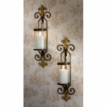 Dessau Home Fleur De Lis Sconce with Rain Glass And Brass Medallion Home Decor