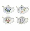 Floral Porcelain Teapot Shaped Tea Bag Holders (Set of 12)